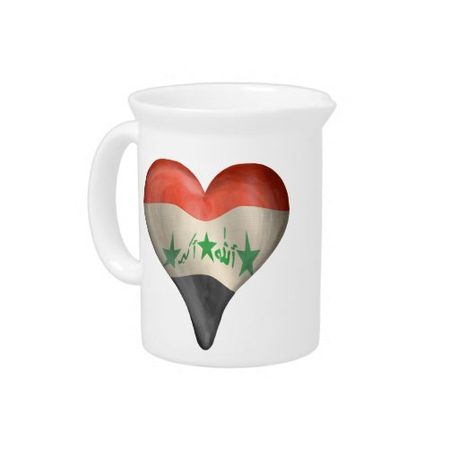 Iraqi Flag In A Heart Pitcher