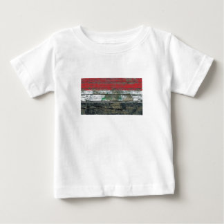Iraqi Flag on Rough Wood Boards Effect Baby T-Shirt