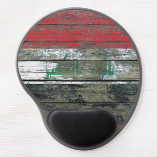 Iraqi Flag on Rough Wood Boards Effect Gel Mouse Pad