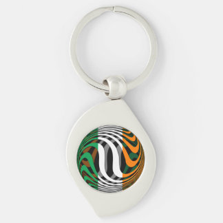 Ireland #1 Silver-Colored swirl metal keychain