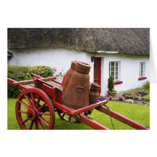 Ireland, Adare. Metal containers on cart and Greeting Cards