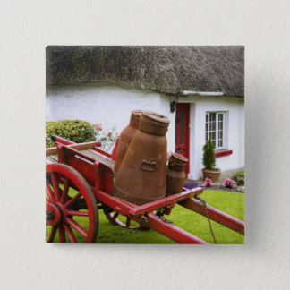 Ireland, Adare. Metal containers on cart and Pinback Button