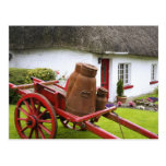 Ireland, Adare. Metal containers on cart and Postcard