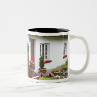 Ireland, Adare. Metal containers on cart and Two-Tone Coffee Mug