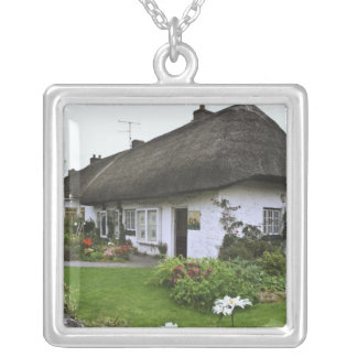 Ireland, Adare. Thatched-roof cottage Square Pendant Necklace
