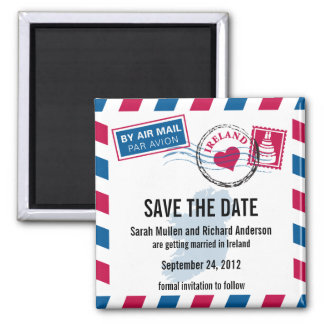 Ireland Air Mail Wedding Save the Date 2 Inch Square Magnet