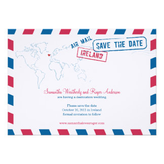 Ireland Air Mail Wedding Save The Date Personalized Invitations