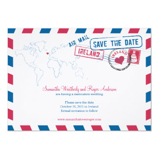 Ireland Air Mail Wedding Save The Date Invitations