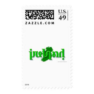 'Ireland' ambigram on a silhouette of Ireland Postage