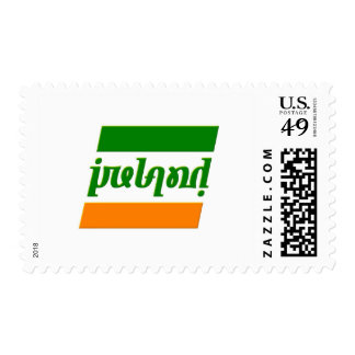 'Ireland' Ambigram set in a stylized Irish flag Postage