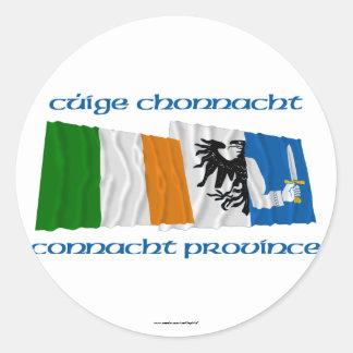 Ireland and Connacht Province Flags Round Sticker