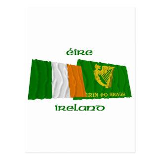 Ireland and Erin Go Bragh Waving Flags Postcard