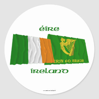 Ireland and Erin Go Bragh Waving Flags Classic Round Sticker