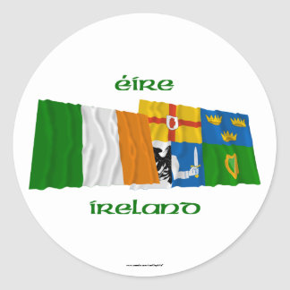 Ireland and Four-Province Waving Flags Sticker