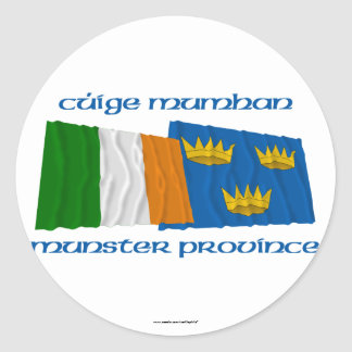Ireland and Munster Province Flags Round Sticker