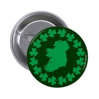 Ireland and Shamrocks Pinback Buttons