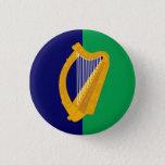 Ireland Badge - Harp on Blue & Green Button