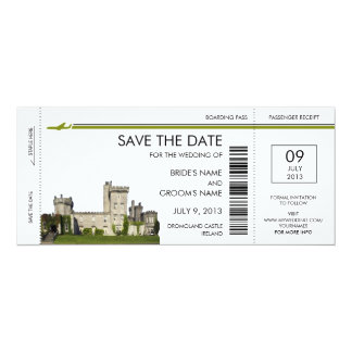 "Ireland Boarding Pass Save the Date Invitations 4"" X 9.25"" Invitation Card"