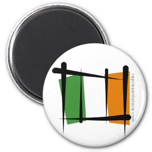 Ireland Brush Flag 2 Inch Round Magnet