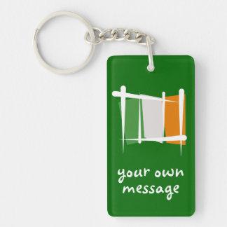Ireland Brush Flag Double-Sided Rectangular Acrylic Keychain