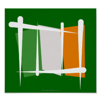 Ireland Brush Flag Poster