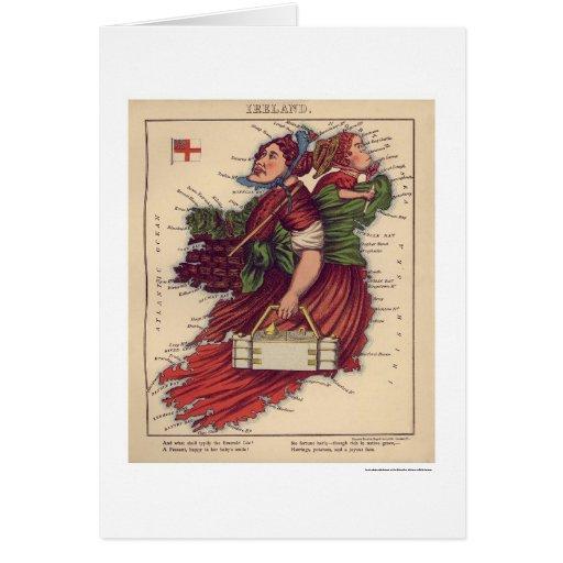 Ireland Caricature Map 1868 Card