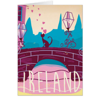 Ireland cartoon vintage style travel poster card