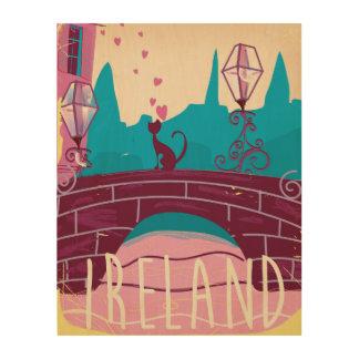 Ireland cartoon vintage style travel poster wood wall art