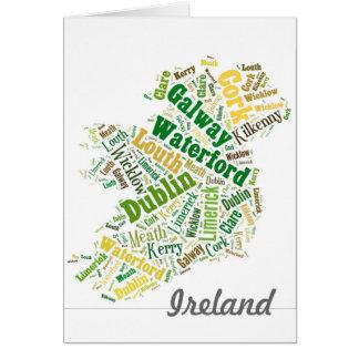 Ireland Cities Word Art Card