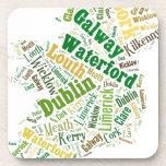 Ireland Cities Word Art Coasters