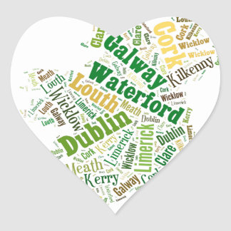 Ireland Cities Word Art Heart Sticker