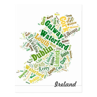 Ireland Cities Word Art Postcard