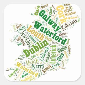 Ireland Cities Word Art Square Stickers