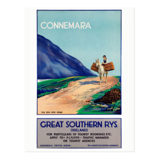 Ireland Connemara Restored Vintage Travel Poster Postcard