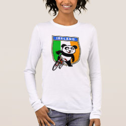 Women's Basic Long Sleeve T-Shirt with Irish Cycling Panda design