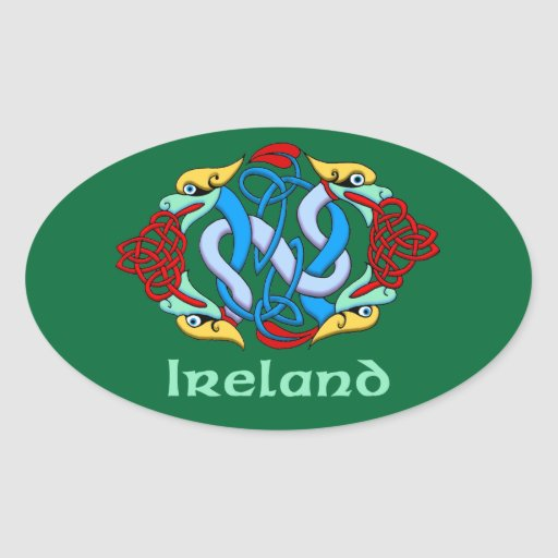 Ireland - Dragon Knot Oval Sticker