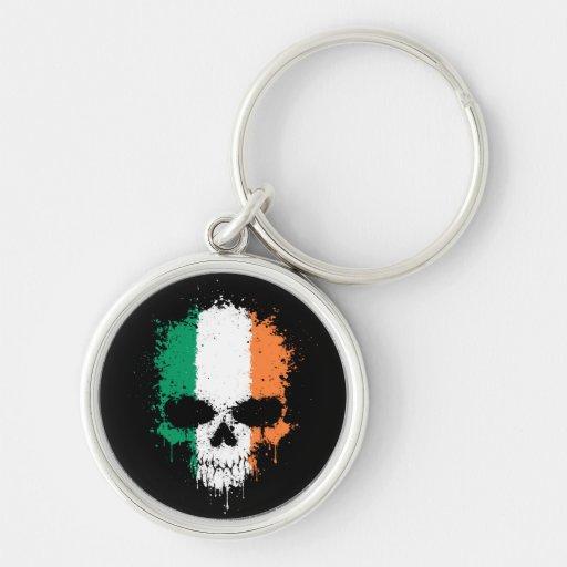 Ireland Dripping Splatter Skull Key Chain