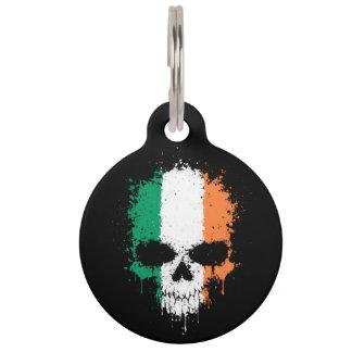 Ireland Dripping Splatter Skull Pet ID Tag