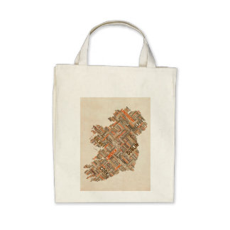 Ireland Eire City Text map Bags