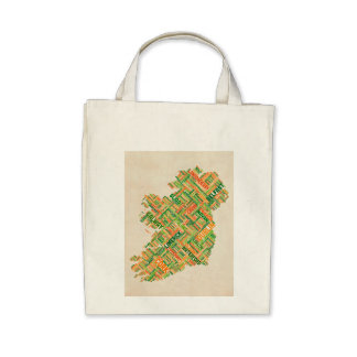Ireland Eire City Text map Canvas Bags