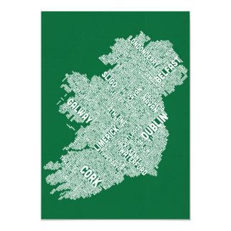 Ireland Eire City Text map Card