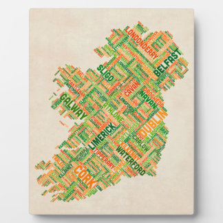 Ireland Eire City Text map Display Plaque