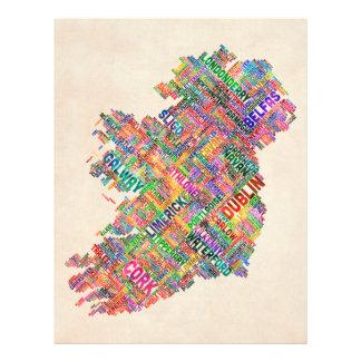Ireland Eire City Text map Flyer