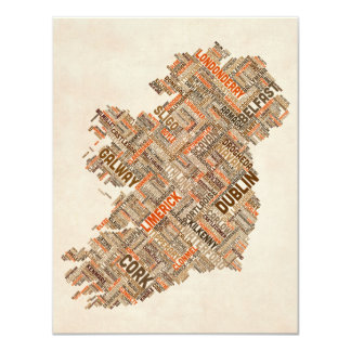 Ireland Eire City Text map Personalised Invitations