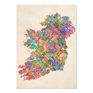 Ireland Eire City Text map 5x7 Paper Invitation Card