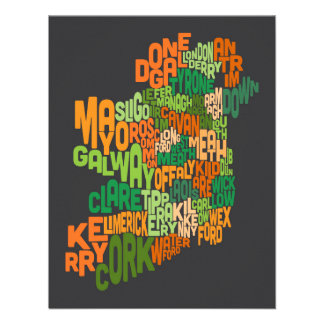 Ireland Eire County Text Map Personalized Announcement