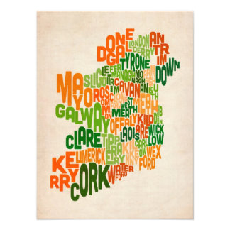 Ireland Eire County Text Map Photographic Print