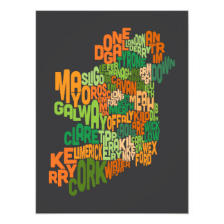 Ireland Eire County Text Map Art Photo