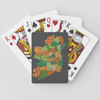 Ireland Eire County Text Map Playing Cards