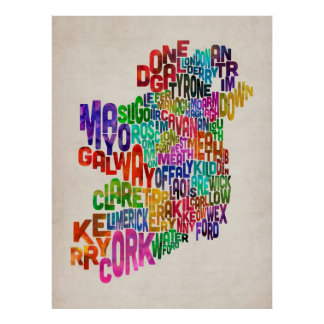 Ireland Eire County Text Map Print
